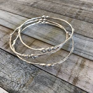 Set of 3 Silver Stella and Dot Bangle Bracelets